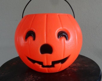 Vintage Trick or Treat Pumpkin Halloween Pail Adorable 1980s or 70's Medium Size