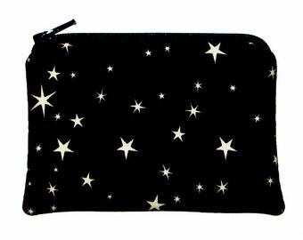 Celestial Stars on Black Small Zipper Pouch Coin Change Purse