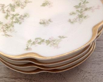Floral Bread Plates, Haviland Limoges, Set of 4