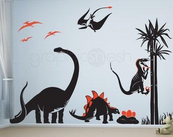 Wall decals DINOSAUR ADVENTURE dino's jungle world Boys & nursery decor by GraphicsMesh