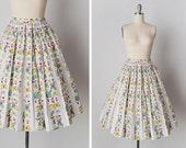 vintage 1950s skirt / 50s butterfly skirt / 50s novelty print skirt / Butterfly Hub skirt