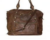 "17"" Distressed Leather Tote Bag Cross-body Bag Magui BIS extra large, fits a 17"" laptop"