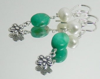 Peruvian Blue Green Opal, White Pearl and Sterling Silver Flower Charm Earrings