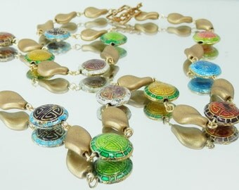 Chinese Enamel and Matte Metallic Gold Czech Glass Chain Style Necklace