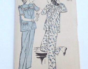 Vintage Advance sewing pattern Number 4522 1950s Pajama pattern sleepwear Size 20 Large Pjs