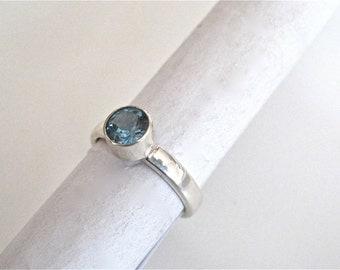 Blue topaz ring, london blue topaz ring, solitaire ring, modern topaz ring, topaz jewelry, December birthstone ring