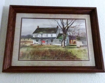Vintage-Country House-Watercolor- Framed Print-Artist Ranulph Bye