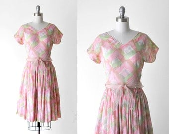 1950 watercolor dress. 50's pink dress. pastel. brushstroke print. sheer dress. 50 full skirt dress. m.