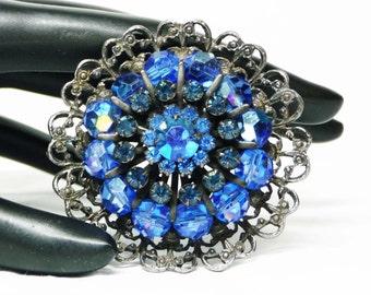 Round Blue Rhinestone Brooch in Steel Grey Filigree Pin - Designer Signed Vintage WEISS Pin