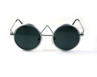 round sunglasses Retro Steampunk sunglasses vintage silver metal steampunk sunglasses John Lennon style unusual NOS 1990s