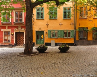 Fine Art Color Photography of Quiet Little Square in Gamla Stan Stockholm Sweden