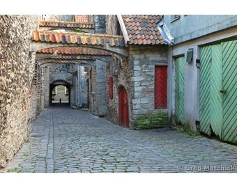 Fine Art Color Photography of Old Medieval Lane in Tallinn Estonia