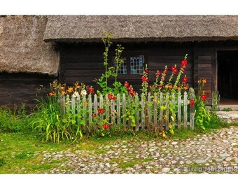 Fine Art Color Photography of Log Home and Garden in Sweden