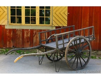 Fine Art Color Photography of Rustic Cart and Yellow Shutters in Sweden