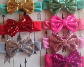 On Sale Baby Kids Headband Bow Big Bow Sequin Bow Glitter Bow Cotton and Sequin Girls Hairbow Gold Silver Pink Black Hot Pink bow