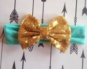 Mint and Gold Sequin Headband Bow Glitter Bow Cotton and Sequin Girls Hairbow Gold Silver Pink Black Hot Pink Stripe