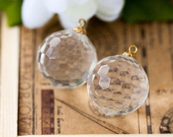 Large Vintage Beads Acrylic Embedded Wire Crystal Disco Ball Faceted Round Pendant Drop Charm Beads or Earring Components