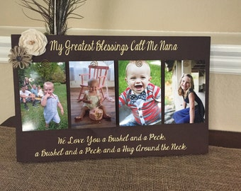 my greatest blessings call me grandma personalized frame grammie nana mimi customize with kids names and birthdates! Picture frame gift!