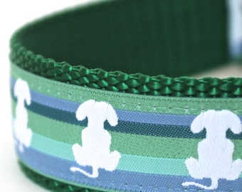 Puppy Tails Dog Collar, 1 inch width, Big Dog Collar, Striped Green Pet Collar