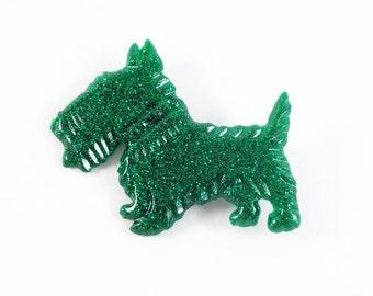 Emerald Green Glitter Scotty Dog Brooch