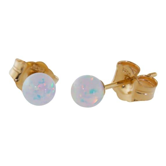 Lorraine: 4mm Australian Fiery White Opal Ball Stud Post Earrings, 14K White or Yellow Gold, Small Minimalist Earrings, Tiny, Petite