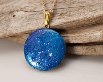 Virgo constellation locket - zodiac necklace - August 23 to September 22 birthday - glow in the dark uv universe  - astrology jewelry
