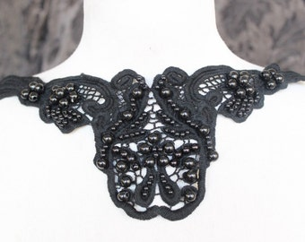 Cute venice beaded applique  black color 1 pieces listing