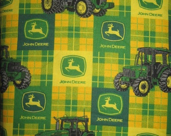 18X22 JOHN DEERE Cotton Fabric Fat Quarter Yellow And Green Plaid