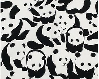 Cotton Fabric Sheeting  japanese fabric Panda Black white