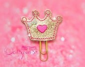 GOLD CROWN Glitter Planner Clip in gold and pink
