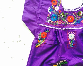 Mexican embroidered empire girls fiesta dress in PURPLE