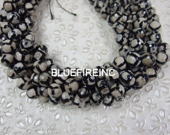 10mm faceted tibetan agate beads 16 inch long