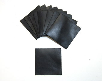 """Leather Die Cut Squares 3-1/16"""" x 3-1/16"""" in Black and Brown (10 pieces each)"""