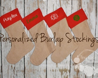 Personalized Burlap Stockings- Red Christmas Stocking - Name or Monogram Included
