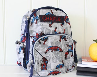 Baby Backpack With Monogram Pottery Barn (Mini Size) -- Allover Spider-Man