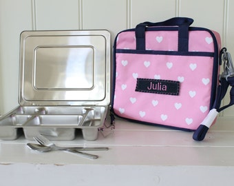 Personalized Lunch Bag -- Pottery Barn All-In-One -- Pink Heart