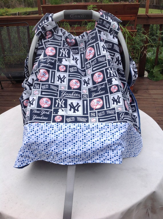 new york yankees inspired infant seat canopy car by quiltsbykym. Black Bedroom Furniture Sets. Home Design Ideas