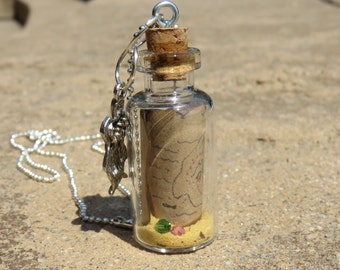 Pirate Treasure Map In A Bottle Pendant Necklace Party Favor, Treaure Map Necklace, Pirate Necklace