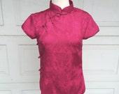 RESERVED Fuchsia Pink Silk Cheongsam Blouse Chinese Mandarin Collar Top Brocade Vintage Asian XS Small