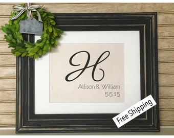 Personalized Burlap Monogram | Custom Burlap Print | Wedding Date Sign | Family Name Sign | Monogrammed Gifts | New Last Name Wall Art