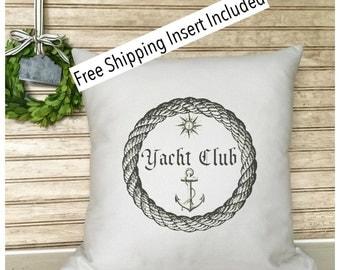 Anchor | Captain | Nautical Decor - Nautical Anchor Yacht Club Pillow * FREE SHIPPING *