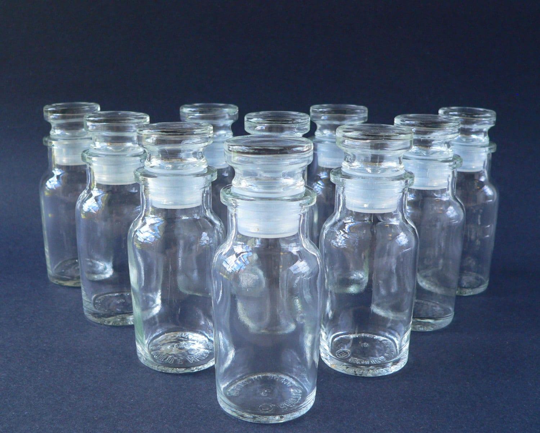 set of 10 glass spice jars bottles with lids by violetqvintage. Black Bedroom Furniture Sets. Home Design Ideas