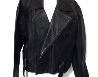 Vintage Black Leather Men's Motorcycle Jacket w Zippers and Buttons