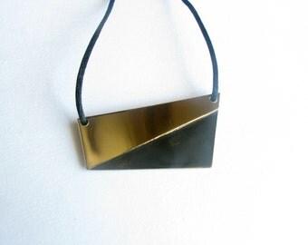Patina Necklace-Brass Pendant Necklace-Brass Geometric Necklace-Modern Necklace-Minimalist Necklace-Modern Jewelry-Handcrafted Jewelry