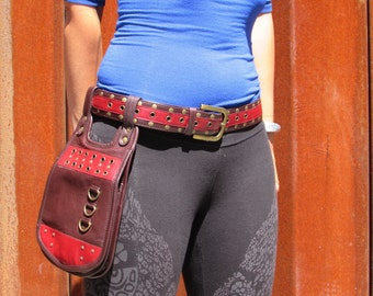 Leather Utility Belt Bag Hip Purse Waist Belt Festival Belt with Pockets in in Red-HB32b
