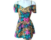 Vintage Animal Print / Tropical Party Dress - S/M