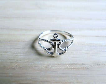 Silver anchor ring, nautical ring, nautical jewelry, sterling silver ring, silver stacking ring, dainty ring, sailor ring