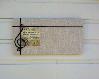Musical themed Pin Board in Natural Burlap with a fabric musical quote detail and a black cord treble cleff, classical music gift for grad