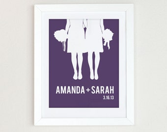 Personalized gay wedding gift, Personalized Wedding Gift, Same Sex Wedding Gift, Lesbian Wedding Gift, Couples Silhouette, anniversary gift