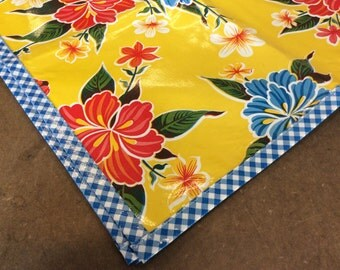 70 x 102 Oilcloth Tablecloth Hawaii Yellow with Blue Gingham Trim